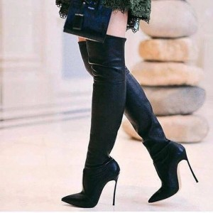 Black Sexy Stiletto Boots Pointy Toe Over-the-Knee Long Boots