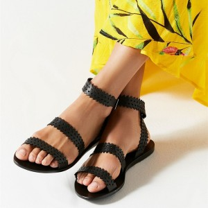 Black Flat Sandals Open Toe Laser Cut Gladiator Sandals
