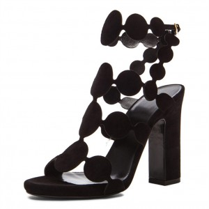 Black Slingback Heels Open Toe Chunky Heel Sandals