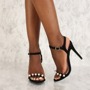 Black Slingback Pearl Decorated Stiletto Heel Summer Sandals
