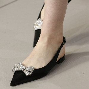 Black Slingback Shoes Pointy Toe Comfortable Flats with Rhinestone Bow