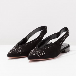 Black Slingback Shoes Suede Pointy Toe Comfortable Flats with Studs