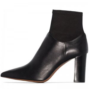 Black Sock Boots Pointed Toe Chunky Heel Ankle Boots