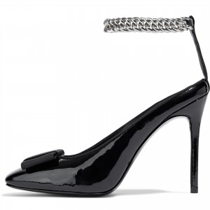 Black Square Toe Bow Heels Patent Leather Chain Ankle Strap Pumps