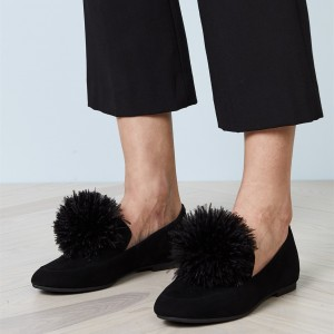 Black Square Toe Furry Ball Comfortable Loafers for Women