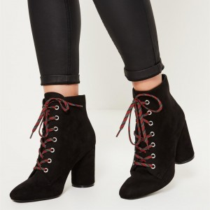 Black Square Toe Lace up Boots Block Heel Ankle Booties