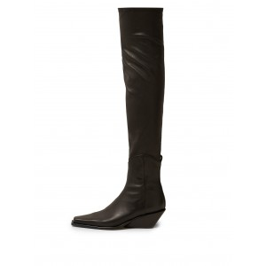 Black Square Toe Wedge Booties Knee-high Boots