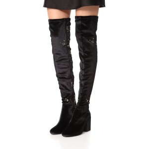 Black Stars Embroidered Long Boots Velvet Over-the-knee Boots
