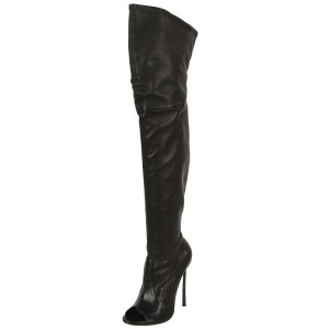 Black Stiletto Boots Peep Toe Over the Knee Boots for Women