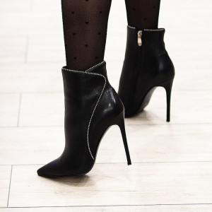 Black Stiletto Boots Pointy Toe Stiletto Heel Ankle Boots