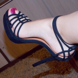 Black Stiletto Heel Platform Sandals Sexy High Heel Shoes