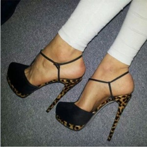 Black Stiletto Heel T-Strap Sandals Leopard Platform Slingback Pumps