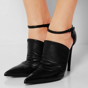 Black Stiletto Heels Pointy Toe Ankle Booties for Women