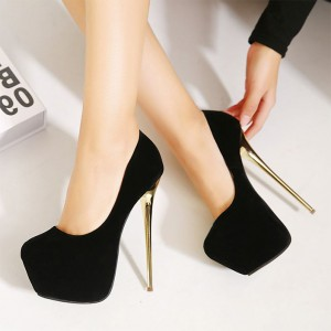 Women's Black Platform Heels Stiletto Pumps