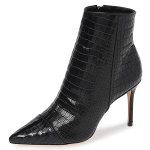 Black Stone Pattern Stiletto Boots Ankle Boots