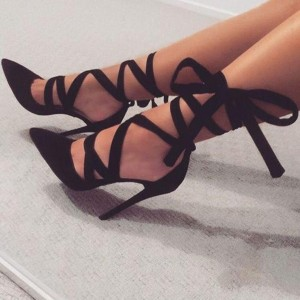Black Strappy Heels Pointy Toe Suede Pumps Stiletto Heels