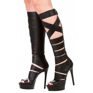 Black Strappy Stiletto Heels Platform Gladiator Sandals