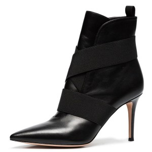 Black Straps Pointy Toe Stiletto Heel Ankle Booties