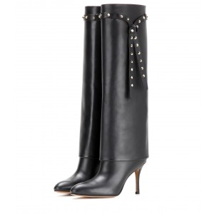 Black Studded Long Boots Stiletto Heels Knee High Boots