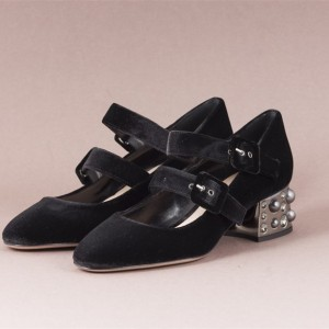 Black Studded Velvet Mary Jane Shoes Buckles Block Heels Pumps