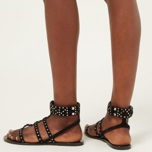 Black Studs Ankle Strap Flat Gladiator Sandals