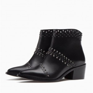 Black Studs Block Heel Ankle Booties