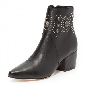 Black Studs Block Heel Boots Pointed Toe Ankle Boots