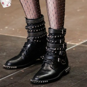Black Studs Buckles Lace Up Fashion Boots Ankle Boots