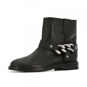 Black Studs Chain Flat Ankle Boots