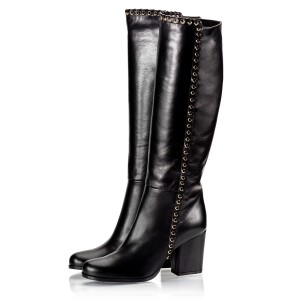 Black Studs Chunky Heel Boots Knee-high Boots
