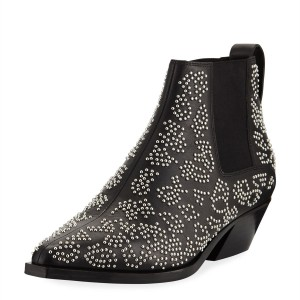 Black Studs Fashion Boots Pointy Toe Chunky Heel Ankle Booties