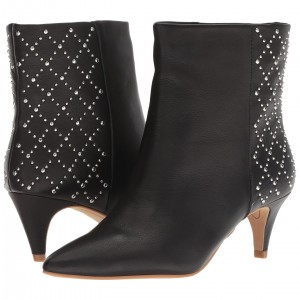 Black Studs Pointy Toe Kitten Heel Boots
