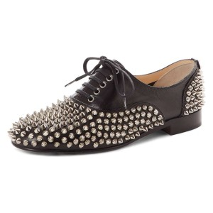 Black Studs Shoes Lace Up Oxfords