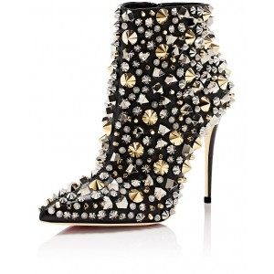 Black Studs Zip Stiletto Boots