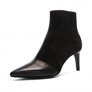 Black Suede and Faux Leather Stiletto Heel Ankle Booties