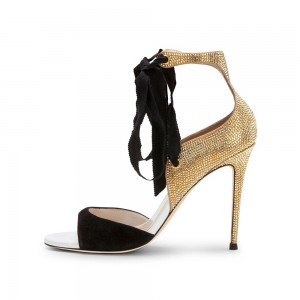 Black Suede and Gold Rhinestone Evening Shoes Stiletto Heel Sandals