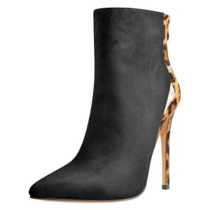 Black Suede and Leopard Pointy Toe Stiletto Heel Ankle Booties