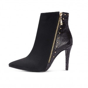 Black Suede and Python Stiletto Boots Side Zipper Studs Ankle Boots