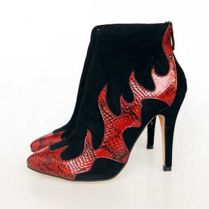 Black Suede and Red Python Stiletto Boots Ankle Boots