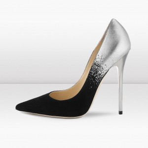 Black Suede and Silver Prom Shoes Stiletto Heel Pumps