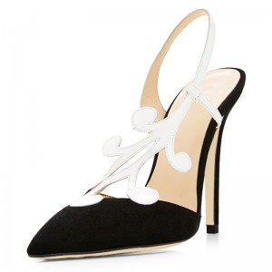Black Suede and White Pointy Toe Stiletto Heel Slingback Pumps
