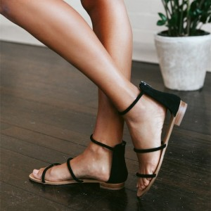 Black Suede Ankle Strap Comfortable Flats