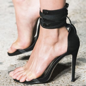 Black Suede Ankle Strap Heels Clear PVC Sandals