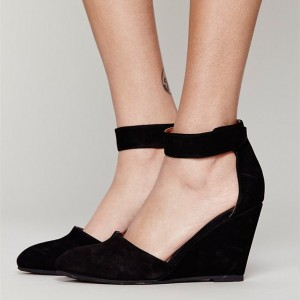 Black Suede Ankle Strap Wedge Heels Pumps