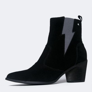 Black Suede Grey Lightning Block Heel Ankle Booties