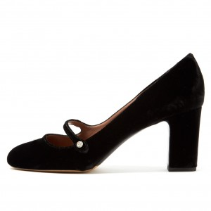 Black Velvet Chunky Heel Mary Jane Pumps Vintage Shoes