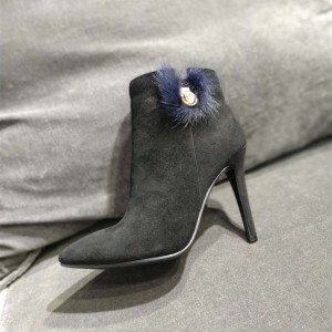 Black Suede Blue Fur Stiletto Heels Ankle Booties