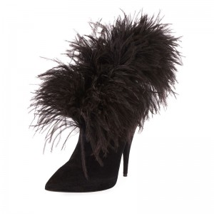 Black Suede Boots Feather Cone Heel Ankle Boots