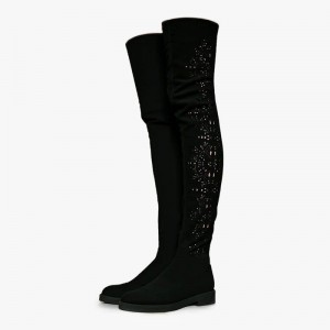 Black Suede Boots Hollow Out Flat Over the Knee Boots