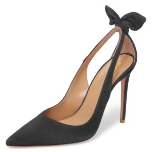 Black Suede Bow Heels Pointy Toe Stiletto Heel Pumps